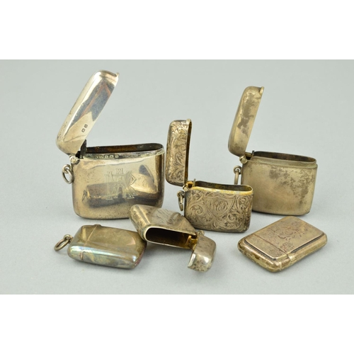22 - SIX LATE 19TH TO EARLY 20TH CENTURY SILVER VESTA CASES, all of rectangular outlines, one with engrav...