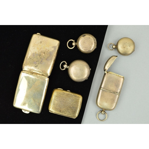25 - FOUR LATE 19TH TO EARLY 20TH CENTURY SILVER SOVEREIGN HOLDERS AND TWO SMALL CIGARETTE CASES to inclu...