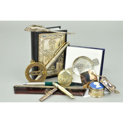 27 - A SELECTION OF NOVELTIES to include a leather cased bible with embossed silver front panel, a limite...