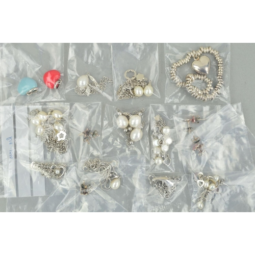 3 - A SELECTION OF SILVER AND WHITE METAL JEWELLERY to include an expandable charm bracelet, two culture...