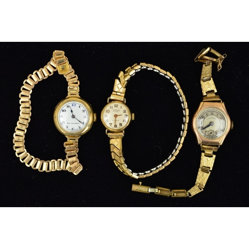 35 - THREE WATCHES, the first a 9ct gold watch with circular head, the white face with Arabic numerals, i...