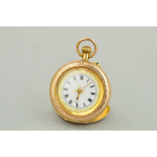 48 - AN EARLY 20TH CENTURY 9CT GOLD SMALL POCKET WATCH, white gold inlaid enamel dial with black Roman nu...