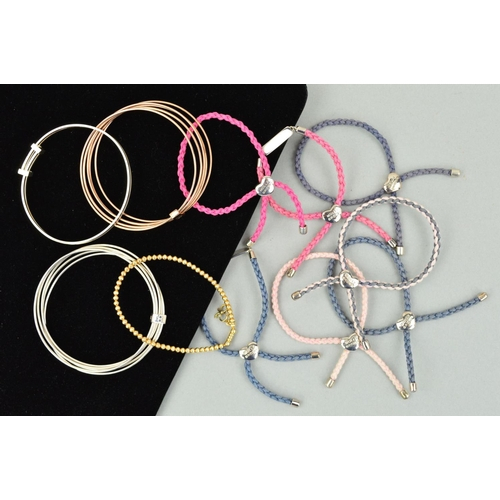 5 - ELEVEN MOLLY BROWN BRACELETS AND BANGLES to include seven plaited cord bracelets with silver panels,...