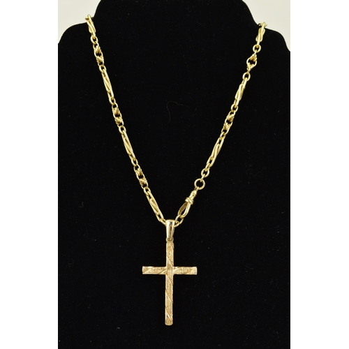 51 - A LATE 20TH CENTURY 9CT GOLD CUBIC ZIRCONIA GOLD CROSS AND CHAIN, the cross has a textured finish, m...