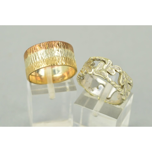 52 - TWO LATE 20TH CENTURY 9CT GOLD BAND RINGS, a three colour gold bark finish wedding band, measuring a...