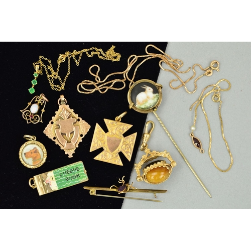 55 - A MISCELLANEOUS JEWELLERY COLLECTION to include a 9ct gold Maltese cross pendant, a modern 9ct gold ...