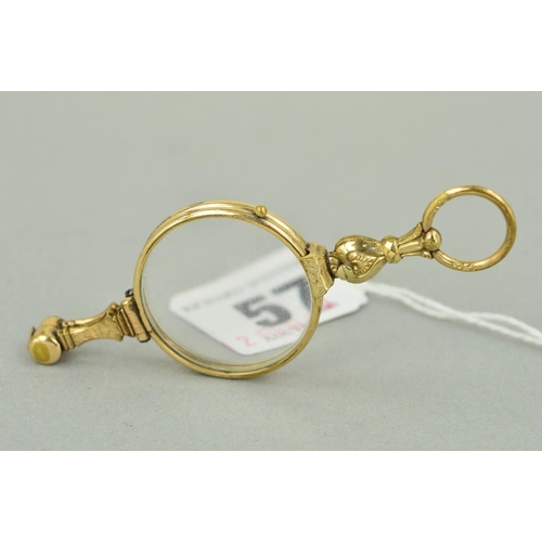 57 - A PAIR OF EARLY 20TH CENTURY GOLD PLATED CENTURY LORGNETTES with spring release mechanism, engraved ...