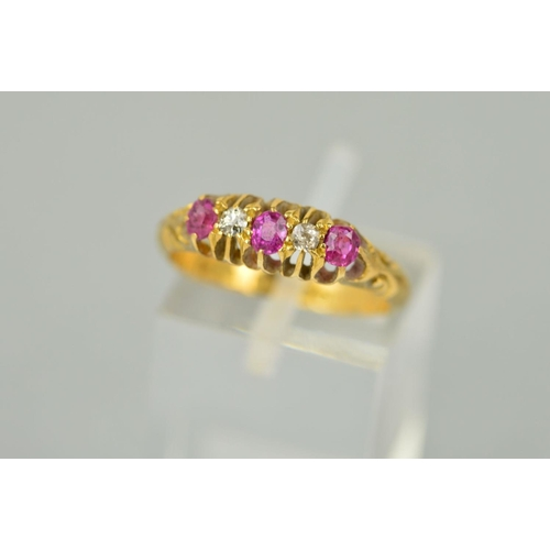 60 - AN EDWARDIAN RUBY AND DIAMOND HALF HOOP RING, estimated diamond old Swiss cut weight 0.04ct, ring si...