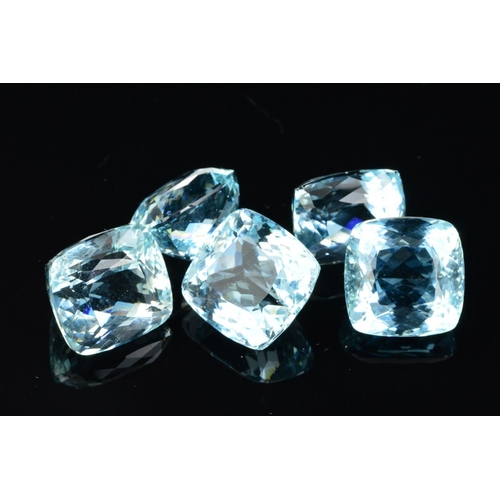 48 - FIVE CUSHION CUT AQUAMARINES, measuring on average 11.3mm in diameter (each), total weight 36.17ct (...