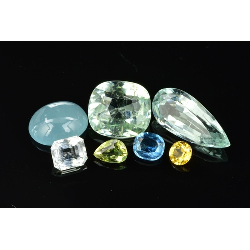 49 - AN ASSORTMENT OF COLOURED BERYL GEMSTONES, to include yellow, green, white and dark blue aquamarine,...