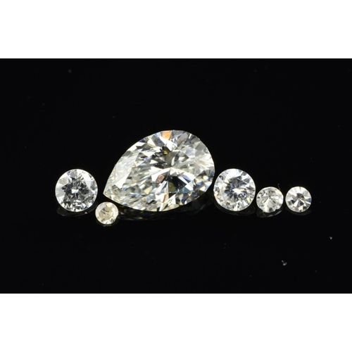 56 - A DIAMOND COLLECTION, to include a pear shape, weighing 0.51ct, colour assessed as E-F, clarity VS2-...