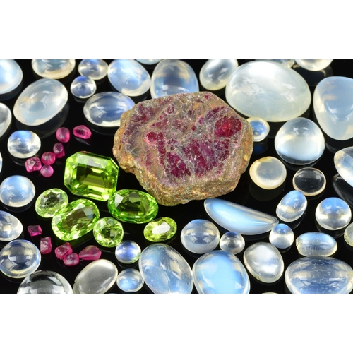 57 - A MIXED SEMI-PRECIOUS GEM COLLECTION, to include a collection of cabochon cut moonstones, various si...