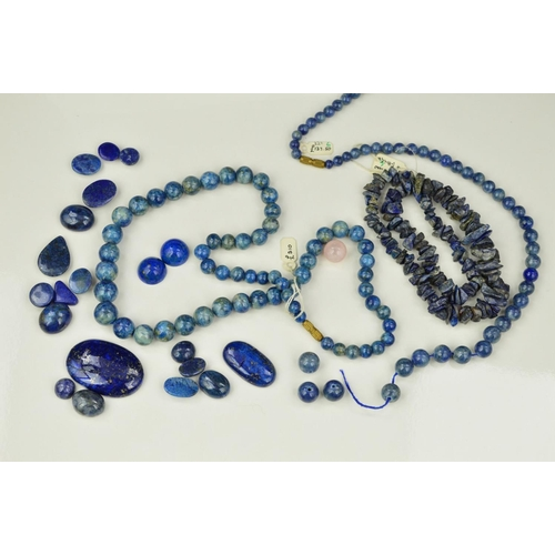 58 - A LARGE COLLECTION OF SODALITE AND LAPIS LAZULI GEMSTONES, of various sizes, cuts and bead necklaces...