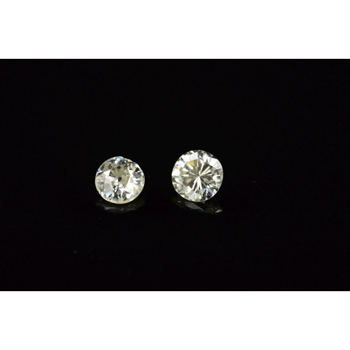 3 - TWO ROUND BRILLIANT CUT DIAMONDS, first 0.29ct, colour assessed as J-K, clarity SI2-I1, second Old E...