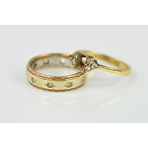 1 - TWO 9CT GOLD RINGS, the first an eternity ring, the central band in a white metal with yellow metal ...