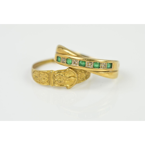 10 - TWO 9CT GOLD RINGS, the first designed as a tapered bell with floral pattern, shank split to the bac...