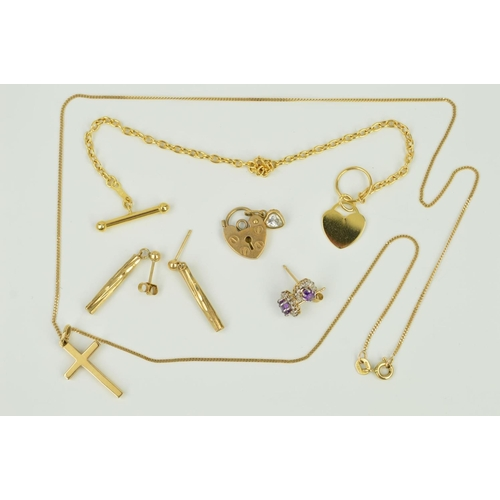 13 - FIVE ITEMS OF JEWELLERY to include a cross pendant necklace, a pair of tubular drop earrings, a pair...