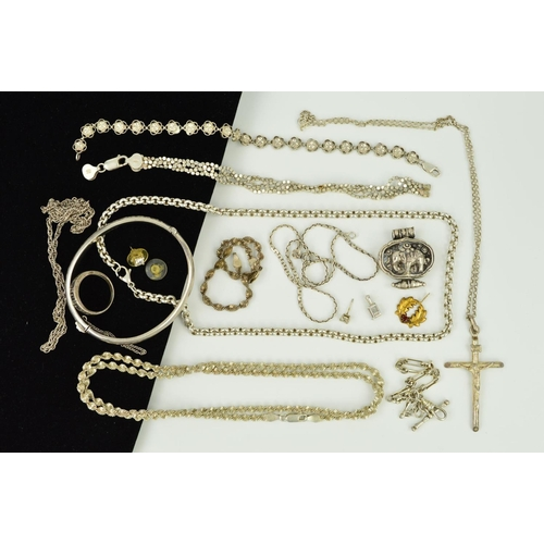 14 - A SELECTION OF SILVER AND WHITE METAL JEWELLERY to include a hinged bangle with engraved floral and ...