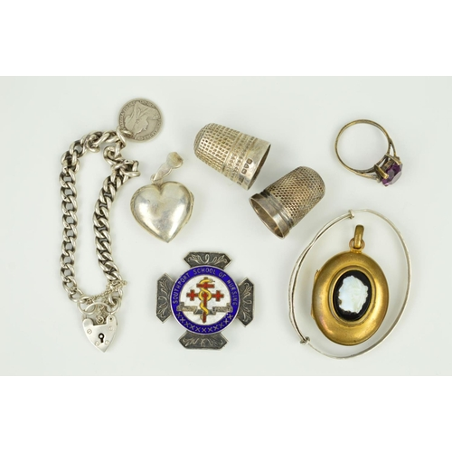 18 - A SELECTION OF JEWELLERY AND NOVELTIES to include a Charles Horner silver thimble, an enamel silver ...