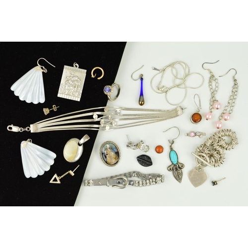 20 - A SELECTION OF SILVER AND WHITE METAL JEWELLERY to include a pair of carved shell drop earrings, a S...