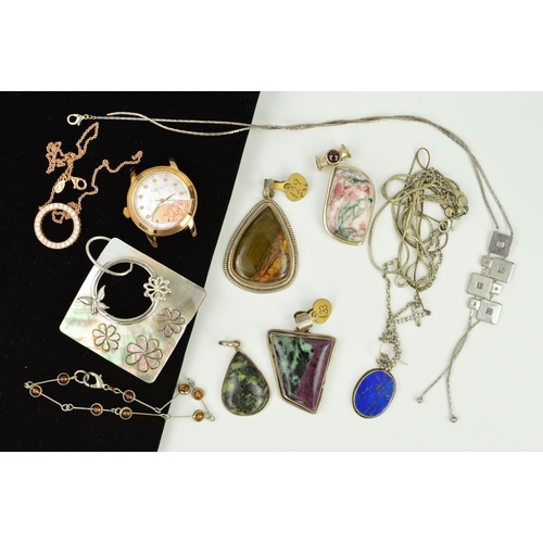 21 - A SELECTION OF MAINLY SILVER AND WHITE METAL JEWELLERY to include a ruby in zoisite pendant, a lapis...