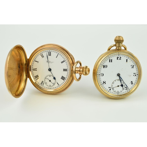 23 - TWO ROLLED GOLD POCKET WATCHES, both with white dials and a subsidiary dial at the six o'clock posit...