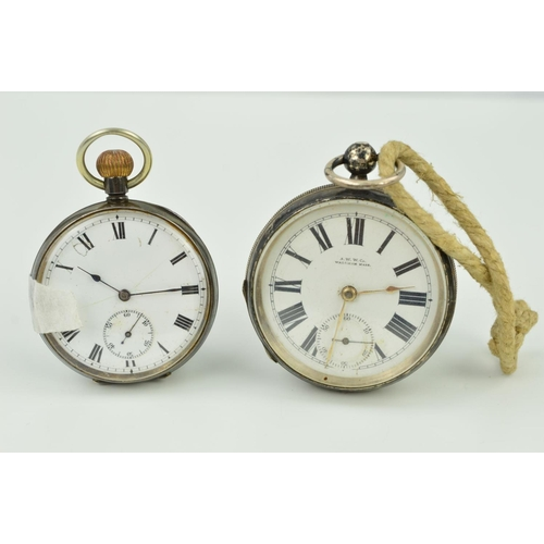 27 - TWO EARLY 20TH CENTURY SILVER POCKET WATCHES, both open face pocket watches with white dials, Roman ...