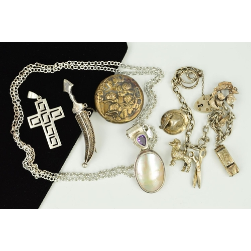 30 - A SMALL SELECTION OF SILVER AND WHITE METAL JEWELLERY to include a mother of pearl and amethyst pend...