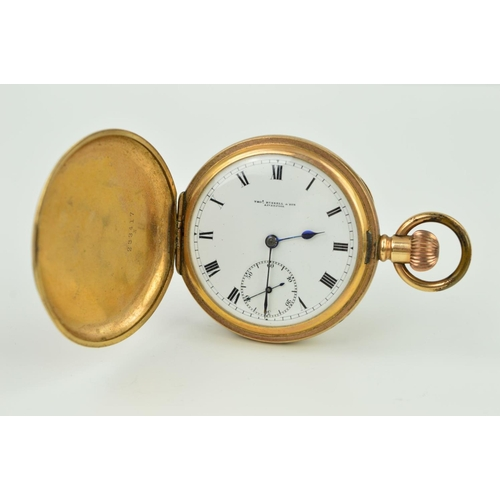31 - A ROLLED GOLD FULL HUNTER POCKET WATCH, the Thomas Russell & Son pocket watch with white dial, Roman...
