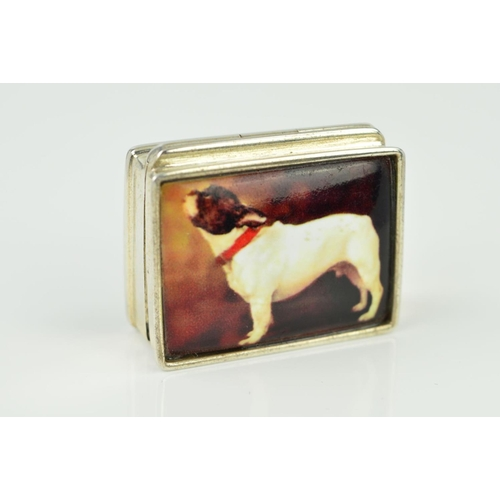 32 - A PILL BOX of rectangular outline with a transfer print of a French bulldog to the front panel, stam...