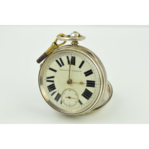 34 - A LATE VICTORIAN SILVER POCKET WATCH, the open face pocket watch with white dial, Roman numeral mark...
