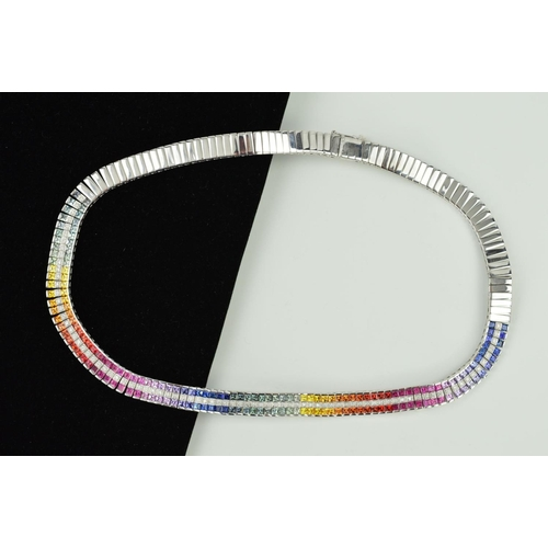 35 - A MODERN 9CT WHITE GOLD MULTI COLOURED SAPPHIRE AND DIAMOND COLLAR, comprised of square cut sapphire...