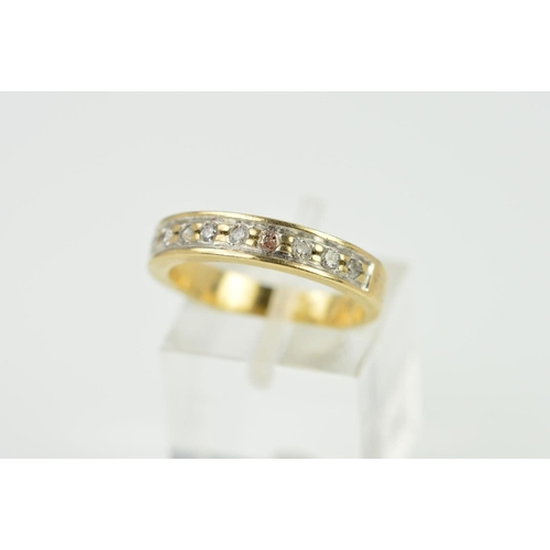 38 - A MODERN HALF DIAMOND ETERNITY RING, estimated total diamond weight 0.25ct, ring size O, stamped '37...