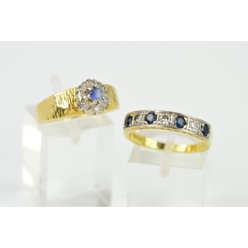 4 - TWO SAPPHIRE AND DIAMOND RINGS, the first an 18ct gold seven stone sapphire and diamond ring set wit...