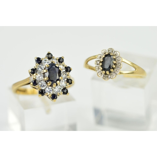 40 - TWO MODERN GEM SET RINGS to include a 9ct gold oval sapphire and diamond cluster ring, ring size P1/...