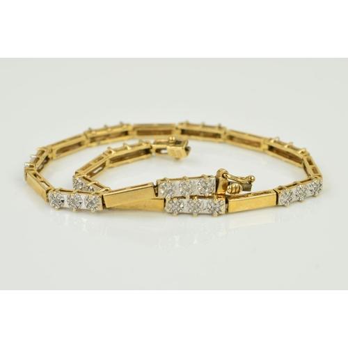 43 - A MODERN DIAMOND PANEL LINK BRACELET, estimated diamond weight 0.30ct, bracelet measuring approximat...