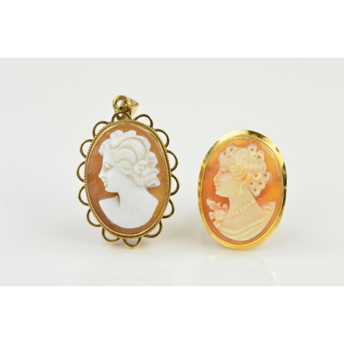 45 - TWO CAMEO PIECES OF JEWELLERY BOTH DEPICTING A MAIDEN IN PROFILE, an oval brooch measuring 22mm x 15...
