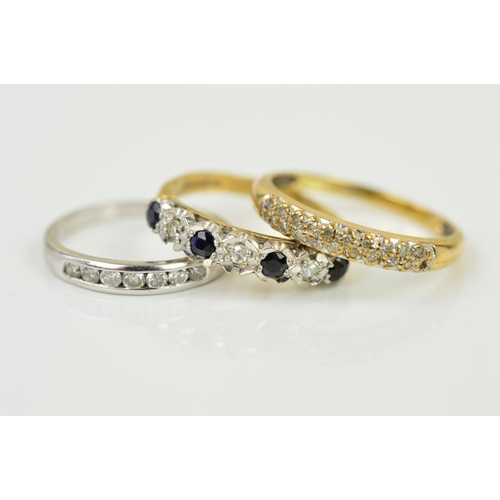 46 - THREE MODERN GEM SET DRESS RINGS to include a 9ct gold pave diamond set eternity ring, ring size P1/...