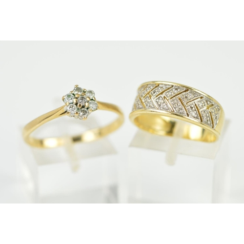 5 - A 9CT GOLD DIAMOND RING AND A 14CT DIAMOND RING, the first a 9ct diamond cluster set with seven bril...