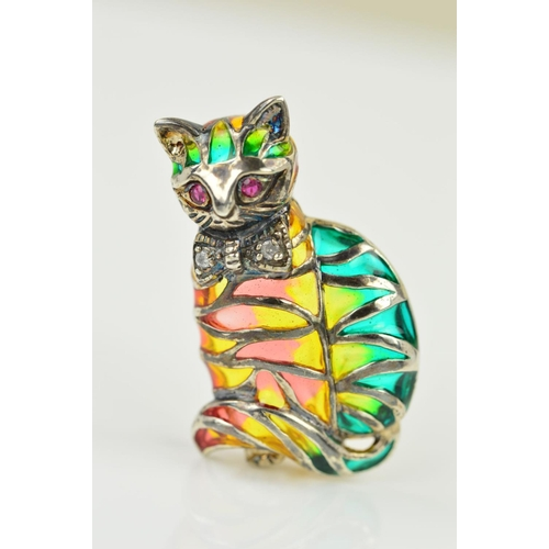 51 - A GEM AND PLIQUE A JOUR CAT BROOCH, designed as a cat with ruby eyes, (possibly synthetic) diamond s...