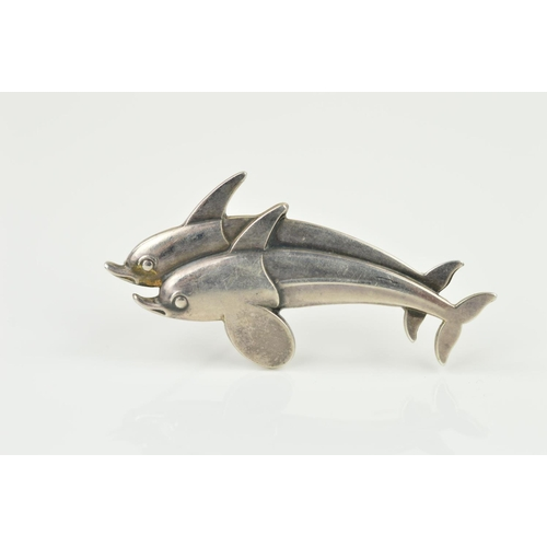 59 - A GEORG JENSEN DOLPHIN BROOCH designed as two dolphins side by side, with maker's mark, stamped 925S...