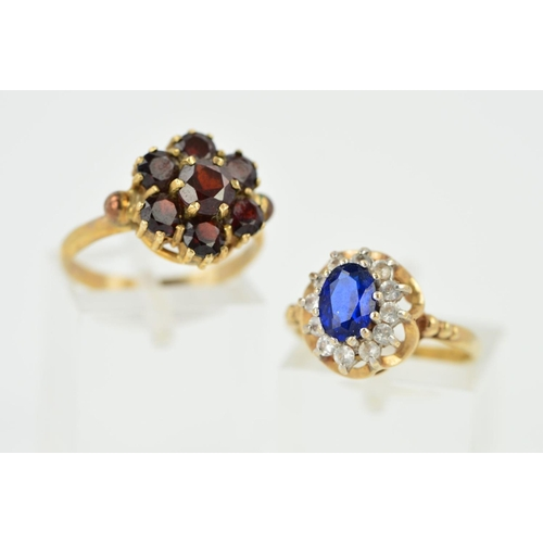 10 - TWO RINGS, to include 9ct gold garnet round cluster ring, ring size N, hallmarked 9ct gold, a 9ct go...