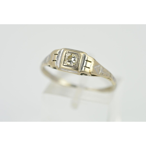 13 - AN EARLY 20TH CENTURY DIAMOND SINGLE STONE RING, a brilliant cut diamond claw set within a square se...