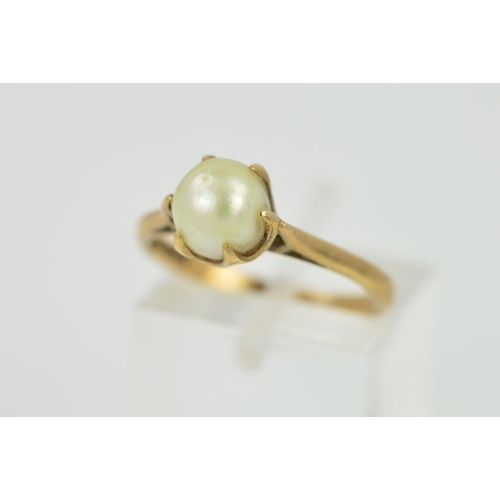 20 - A 9CT GOLD CULTURED PEARL SINGLE STONE RING, cultured pearl measuring approximately 7.00mm in diamet...