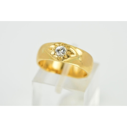 27 - A VICTORIAN 18CT GOLD SINGLE STONE DIAMOND RING, this ring has a later replacement diamond, modern r...