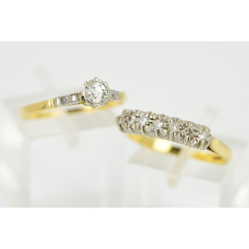 34 - TWO DIAMOND RINGS, the first a brilliant cut diamond within an illusion setting to the single cut di...