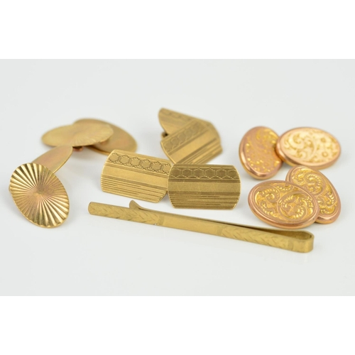 36 - THREE PAIRS OF 9CT GOLD CUFFLINKS AND A 9CT GOLD TIE SLIDE, the cufflinks all with chain link connec...