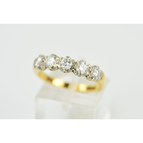 37 - AN 18CT GOLD FIVE STONE DIAMOND RING, designed as a row of brilliant cut diamonds, estimated total d...