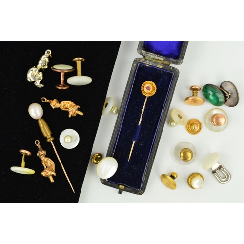 44 - A SELECTION OF MAINLY BUTTONS AND CUFFLINKS AND TWO STICKPINS, to include mother of pearl buttons, m...