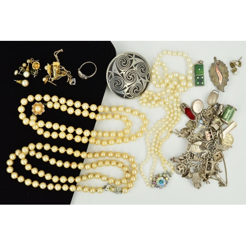 46 - A SELECTION OF JEWELLERY, to include a charm bracelet suspending thirty seven charms to include a hi...